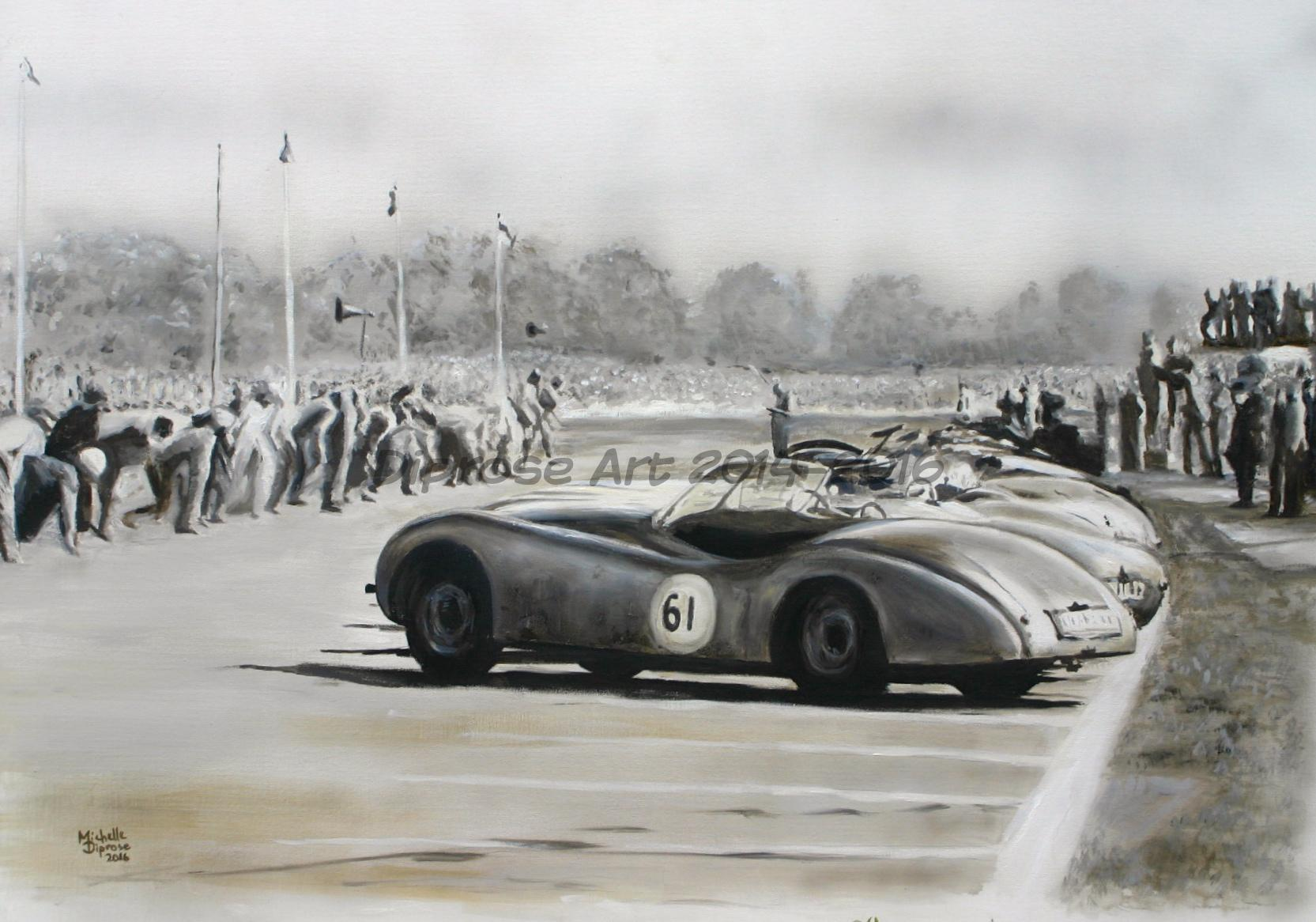 oils on canvas board - A1 -  car Jaguar XK120 Roadster number 16 - one of a pair of paintings - this was fascinating - at the start - I love the fact they had to run to their cars and think that they still should do so today for F1 which would be funny!