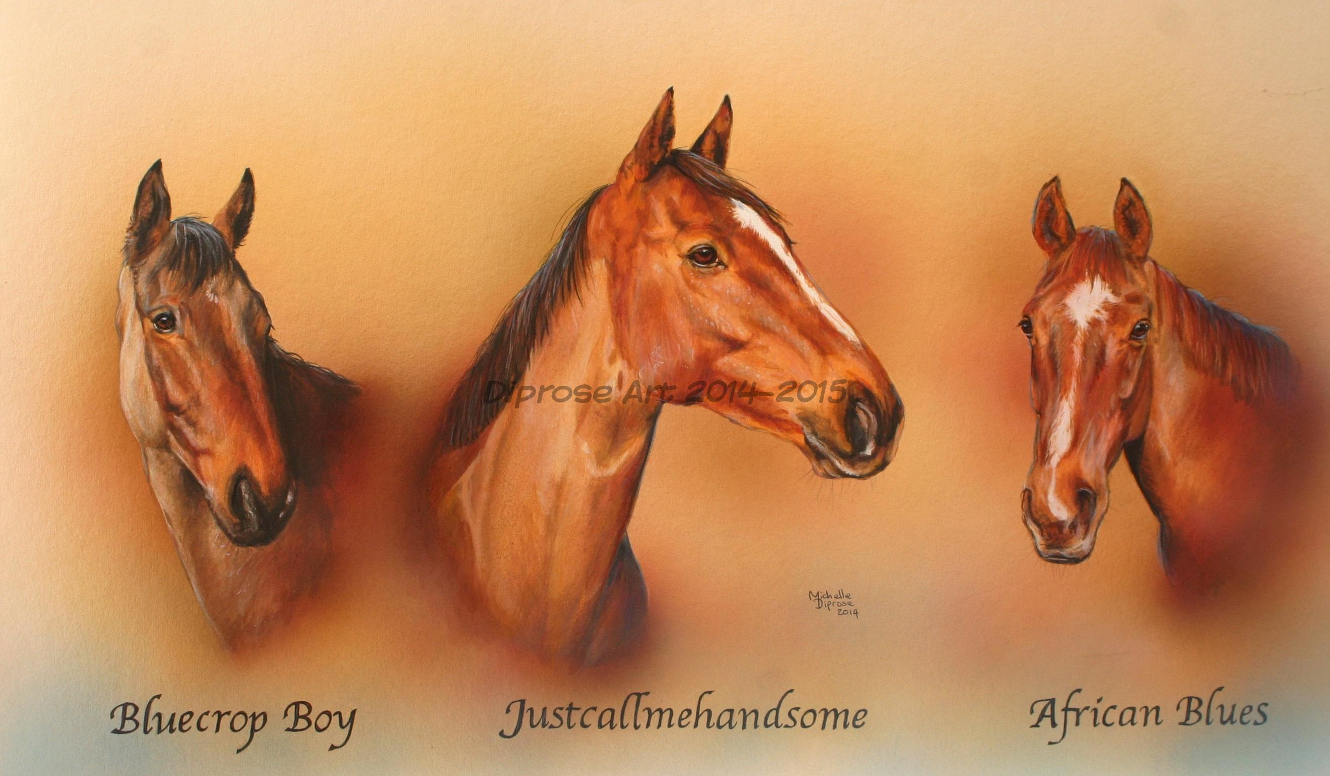 Three Racehorses - acrylics on board - approx A2