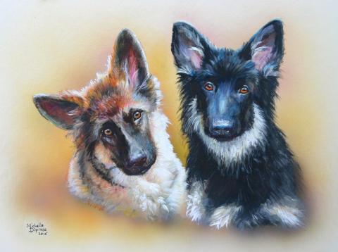 Diprose Art painting GSD acryllic pet portrait